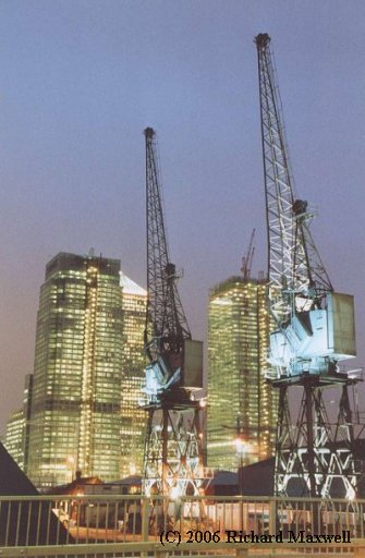 Dockland Cranes at Night